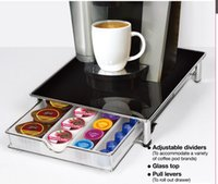 bathroom drawer organizers - DHL Tempered glass top K cup Storage Drawer Coffee Pod Holder for K cups Rack Organizer Black