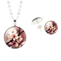 anniversary flowers pictures - Glass Cabochon Jewelry Sets Vintage Flower Art Picture Glass Necklace Stud Earrings Set For Women Gift Silver Color Jewelry