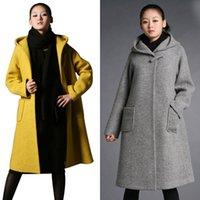 Wholesale Hot Sale Womens Long Wool Blend Coat Hooded Loose Thick Jacket Winter Warm Cloak Parka Overcoat