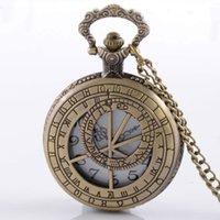 Wholesale Antique Bronze Dr Who Hollow Design Quartz Steampunk Pocket Watch Chain Men Boy Vine Necklace Pendant
