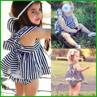 baby leopard costume - lovely baby girls suits casual summer children clothing sets striped tops pants sleeveless vest kids costumes factory price