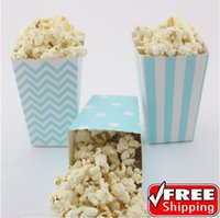 baby sower - 360pcs Mix Designs Light Blue Striped Polka Dot Chevron Paper Popcorn Boxes Baby Sower Birthday Party Favor Candy Snack Treat