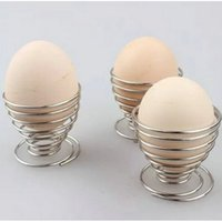 Wholesale 3PCS Stainless Steel Spring Wire Egg Tray Egg Cup Boiled Eggs Holder Stand Storage