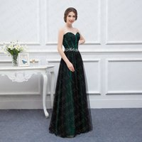 Wholesale Fiesta Fashion Dresses Hot Sale Sweetheart Tulle Long Evening Gowns Black Lace Crystals Beaded Prom Party Dresses