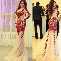 Wholesale Cheap Elegant Elie Saab Dress - Elegant Champagne Tulle Sheer Long Sleeve V Neck Red Lace Applique Elie Saab Mermaid Prom Dresses Sexy Cheap Party Evening Dresses