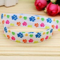 baby animals craft - 5 quot mm Cartoon Animal Paws Fold Over Elastic FOE Printed Ribbon Baby Craft Party DIY Hair Bows Yards A2 F