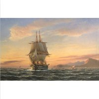 big boats pictures - hand painted decorative landscape Oil painting seascape ship big sail boat on ocean in sunset of Cairo canvas Living room decor