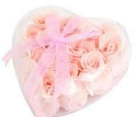 Wholesale Bath sponge Roses Scented Ball Soap Petals Pink w Clear Heart Style Box Bath Flowers