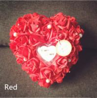Wholesale 26 CM Heart shaped Colorful Ring Pillow Organza Satin Lace Bearer Flower Rose Pillows Bridal Supplies Beaded Wedding Favors Box