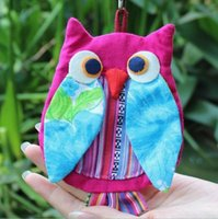 Wholesale Best selling national style portable fabric owl wings zero purse ethnic cloth cartoon cloth bag