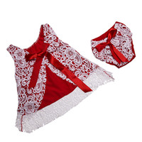 baby swings - Christmas Baby Girls Clothes Sleeveless Baby swing top set Lace Pattern Girls Swing Dress Set Baby Bloomer Set Kids clothes