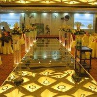 Wholesale 2016 New Arrival Wedding Centerpieces Mirror Carpet Aisle Runner Gold Silver Double Side Design T Station Decoration Wedding Favors Carpets
