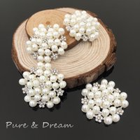 Wholesale Rhinestone pearl diamond Crystal Alloy Round Accessories Hair Jewelry Brooches Buttons