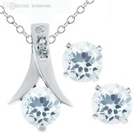 aquamarine and silver earrings - Ct Round Aquamarine Silver Pendant and Earrings Set quot Chain