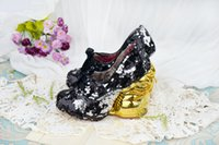 lolita shoes - Ladies Fashion Lolita Shoes Women Scales Discoloring Gold Rabbit Heels Cute Pumps Sequined Glitter Round Toe Feather Party Sweet Shoes Pumps