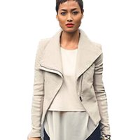 best female breasts - 2016 Best Goods Women Leather Jacket Wind Cool Thin Simple Lapel Large Tight Female Clothing Irregular Zipper Solid Beige PU