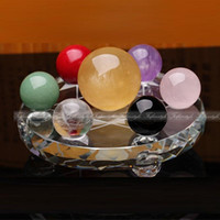 ball array - Feng Shui Natural Multicolor crystal balls Seven Star Array Exorcise Statue With Shelf F448