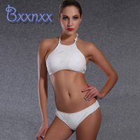bathing services - High Quality and best service White High Neck Bikini Set Women Solid Strappy Swimsuit Brazilain Beach Bathing Suit Sexy Hot Sale Swimwear