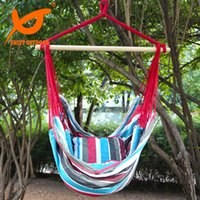Wholesale SWIFT Outdoor Hanging Rope Chair Swing Hammock Porch Swing Seat Two Cushions Striped