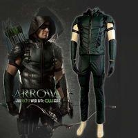 arrow tv s - 2016 Superhero Green Arrow Season Costume Cosplay Top Grade Oliver Queen Newest Full Set for Man