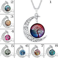 couples sweater - 2016 New The tree of life time diamond necklace couple sweater chain accessories Pendant Silver Tone Crescent Moon Necklace
