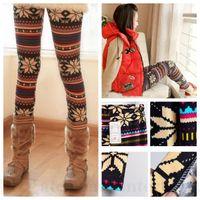 ankle boots tights - Women Snowflake Leggings Skinny Boot Pants Casual Christmas Jeggings Floral Print Leggings Fawn Elastic Tights Xmas Reindeer Pencil PantsD76