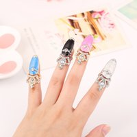 Wholesale New Fashion Rhinestone Cute Crown Crystal Nail Finger Rings Female Personality Nail Art Rings colorful Beauty Jewelry