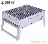 Wholesale 2016 NEW cm Outdoor Stainless steel Hiking camping Charcoal Grill Picnic BBQ Grill for Barbecue Sliver