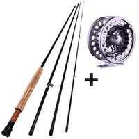 Cheap Hot Sale 2.7m (9') 5 6# 4 Sections H Fly Fishing Rod With Full Metal Fly Fishing Reel Carbon Fly Fishing Rod & Reel Combos