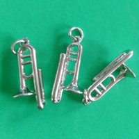 band trombone - k Gold Plated Silver Plated D Trombone Charm Band Orchestra Instrument Music Floating Pendant mm jewelry making