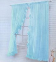 Wholesale Price of solid Organza curtain window screening bed around dream Lace sheer panels blue white beige pink Sheer Curtains