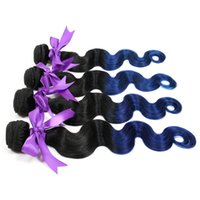 Wholesale Peruvian Indian Malaysian Mongolian Cambodian Brazilian Virgin Straight body wave Hair Weave Bundles Cheap ombre blue Remy Human Hair