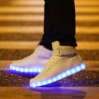 accessories for costumes - Led Shoes For Men Women Big Size USB LED Shoes Men Women Glowing Fashion Light Shoes Flats High top Adults Lumineuse Shoes