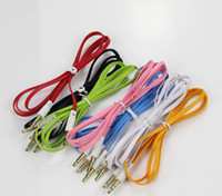 audio to rca - DHL Colorful Flat Noodle mm Aux Audio Auxiliary Cable Jack Male to Male Plug Stereo Cord Wire for iphone