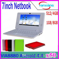 """Laptop 4.4 7-7.9'' New Cheap Mini Android laptop 7"""" VIA8880 Dual Core CPU Android 4.24Wifi Netbook Notebook Laptop 512MB 4GB HDMI Webcam 50pcs ZY-BJ-1"""