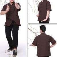 Wholesale Chinese traditional costume Wushu KongFu clothing coarse cloth short sleeve T shirt white black