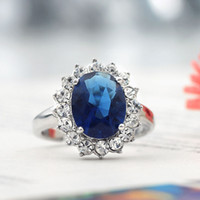 Wholesale Princess Kate Oval Cut Sapphire Gemstone Wedding Rings Luxury Women Bride Wedding Engagement Banquet Party Rings Jewelry Size