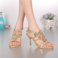 ladies fashion shoes - Colorful Rhinestones Shoes Sandal Flower Women Sandals Gold Ladies Bridal Wedding Sandals With Rhinestones Shoes Size Party Dance Shoe