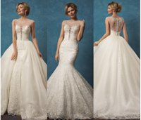 Wholesale 2017 Luxury Gorgeous Lace Wedding Dresses with Detachable Skirt Amelia Sposa Sheer Beaded Scoop Neck Button Back Overskirts Wedding Gowns