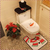bathrooms sets - 2016 New Creative Christmas Decoration snowman toilet set three piece suit Seat Cover and Rug Bathroom Set party decoration