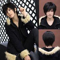 Wholesale DuRaRaRa Izaya Orihara Halloween Cosplay Costume Short Black Anime Men Full Wig