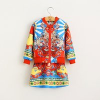 Wholesale Girls Clothes Sets Wlmonsoon Autumn Fashion Print Sleeveless Tutu Vest Dress Long Sleeve Print Jacket Pieces MK