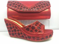 activities rhinestones - Various activities shoes and bag maching set woman shoes Italian design red color high heel shoes PU leather bag