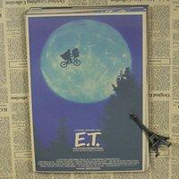 Wholesale E T alien classic science fiction cartoon movie children s study retro nostalgic kraft paper posters retro poster