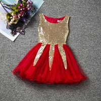 Wholesale Kids Evening Clothes - 2016 New Arrival Cute Flower Girls Dress Bling Bling Sequins Kids Clothing Sleeveless Princess Evening Party Dresses Christmas Costume