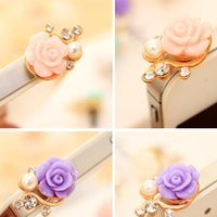 anti dust - Pearl Rose Dustproof Earphone Jack Plugs Mobile Phone Floral Anti Dust Plug for Cell Phone iPhone s galaxy s7 s6 note Dust Proof Plug