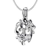Wholesale 3pcs flower shape sterling silver cage pendant mm