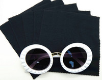 Wholesale 100pcs GSM cm black microfiber cleaning cloth lens cleaner for eyeglass camera phone in zig zag cutting