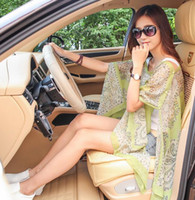 Cheap Womens Beachwear Sarong Scarf Poncho Bikini Cover Up Top Beach Paisley Print Chiffon Sunscreen Shawl Pashmina for Driving With Button