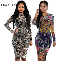 adult tattoo sleeves - 2016 New Vintage Women Spring Sexy Summer Club Bandage Dresses Tribal tattoo sheer Midi Pencil Bodycon Party Dresses Plus Size
